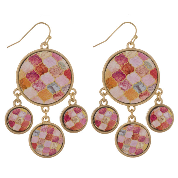 """Drop disc earrings featuring wood inspired accents. Approximately 2"""" in length."""