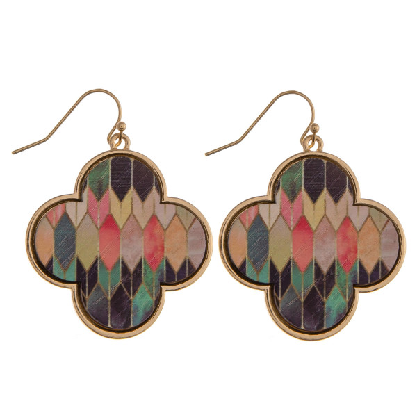"""Wood quatrefoil drop earrings featuring a multicolor pattern. Approximately 1.5"""" in length."""