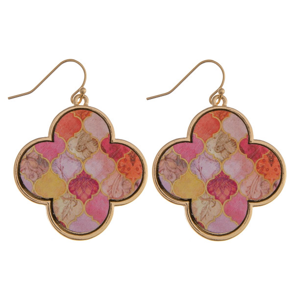 """Wood quatrefoil drop earrings featuring a peach pattern. Approximately 1.5"""" in length."""
