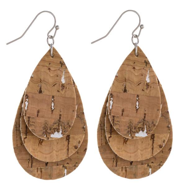 "Cork teardrop layered earrings.  - Approximately 2"" in length"