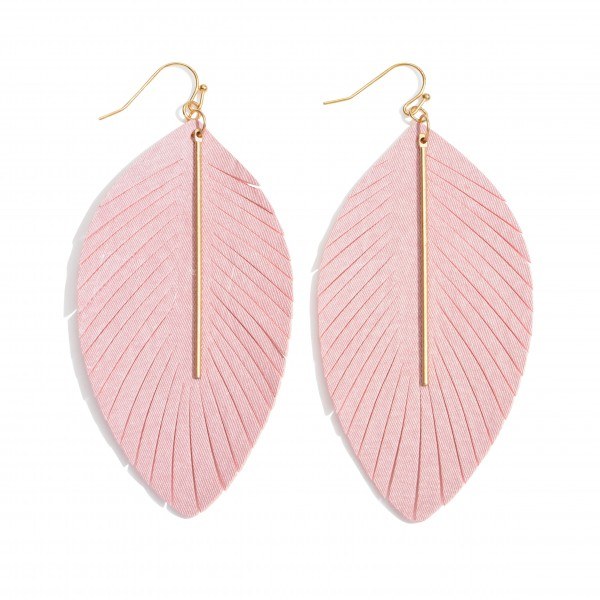 "Long feather fabric inspired earrings featuring a metal bar accent. Approximately 3"" in length."