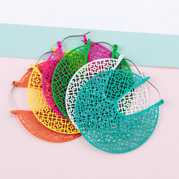 """Filigree inspired hoop earrings. Approximately 2"""" in diameter."""