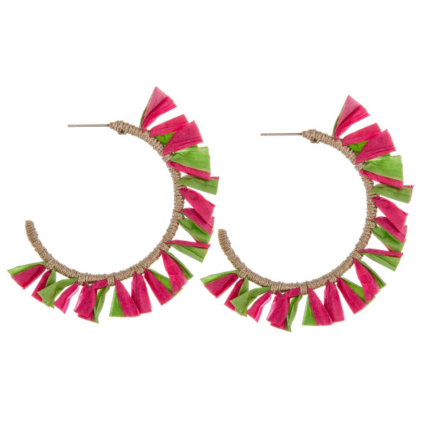 "Large hoop earrings featuring pink and green tassel accents. Approximately 2"" in diameter."