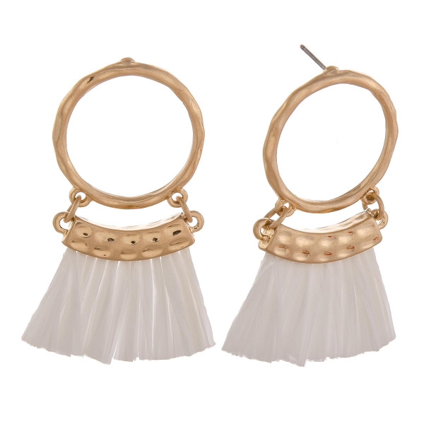 Wholesale circular drop earrings white tassels gold accents