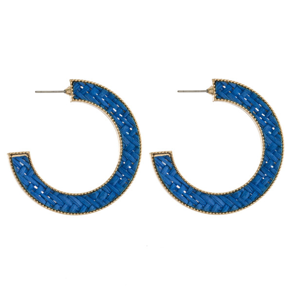 "Rattan woven open hoop earrings.   - Approximately 1.75"" in diameter."