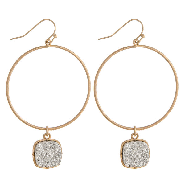Wholesale circular metal earrings druzy accent