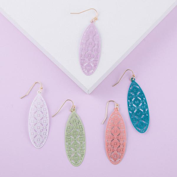 """Long filigree inspired earrings. Approximately 2"""" in length."""
