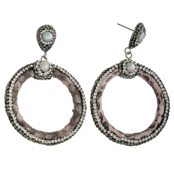 Wholesale circular faux leather earrings rhinestone details pearl accents stud p
