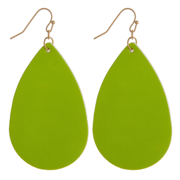 """Neon faux leather teardrop earrings. Approximately 2.5"""" in length."""