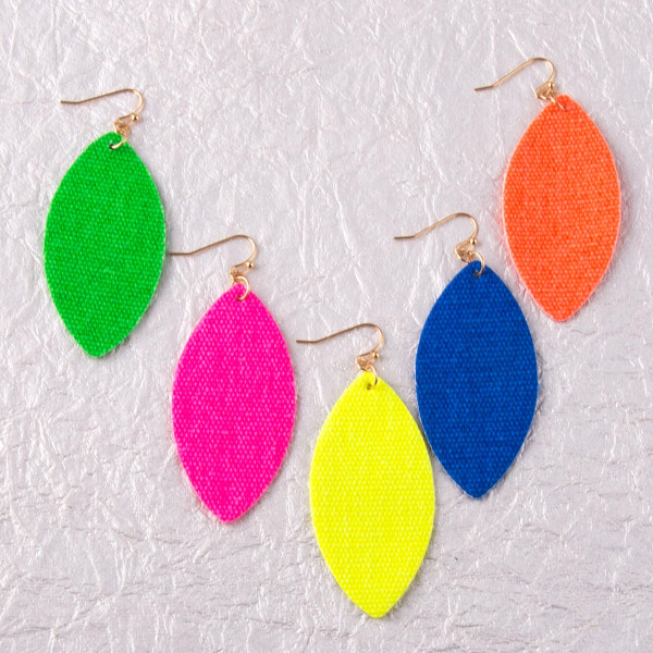 """Long neon fabric made earrings. Approximately 2.5"""" in length."""