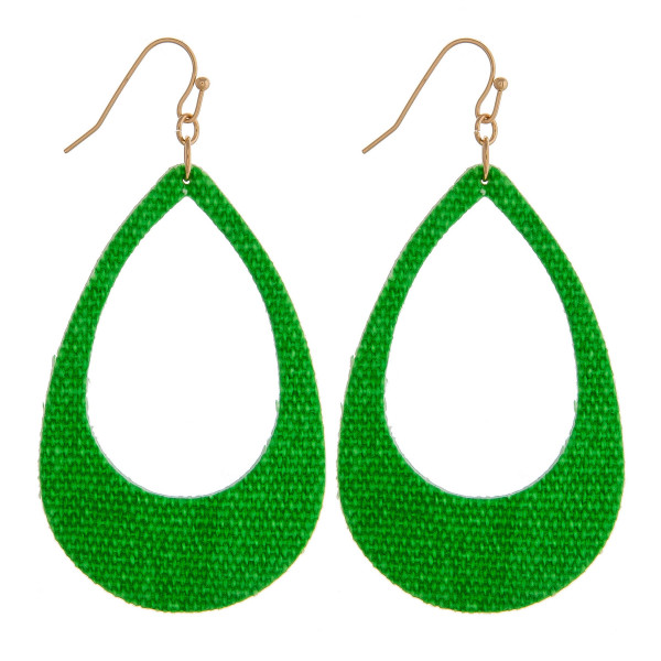 "Neon fabric made teardrop earrings. Approximately 2.5"" in length."