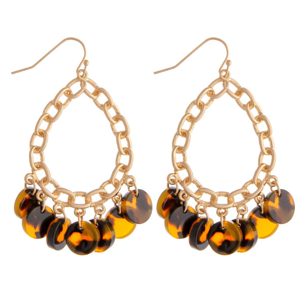 Wholesale metal chain link inspired teardrop earrings resin disc accents