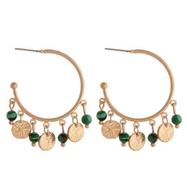 "Boho natural stone beaded open hoop dangle earrings. Approximately 1.5"" in diameter."