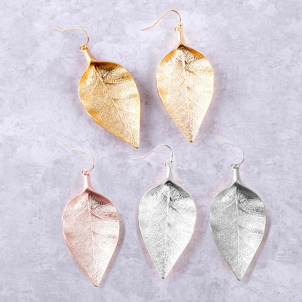 "Metal leaf earrings. Approximately 2.5"" in length."