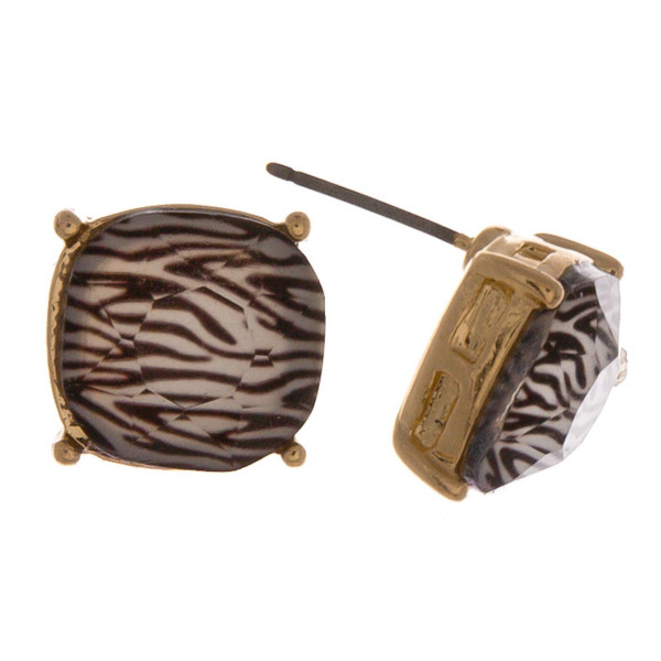 Stud earrings featuring a iridescent stone with zebra print details. Approximately 1cm in diameter.