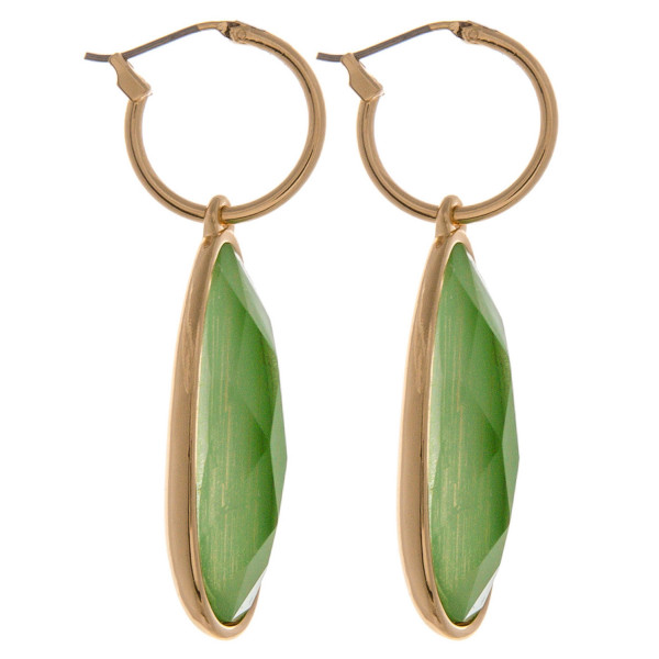 """Tiny hoop earrings featuring a iridescent acrylic teardrop accent. Approximately 2"""" in length."""