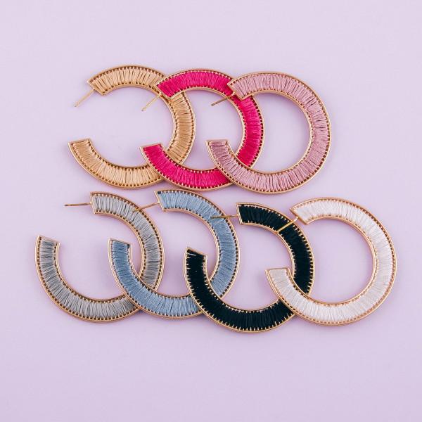 """Thread wrapped open hoop earrings.  - Approximately 2"""" in diameter"""