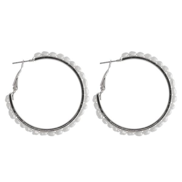 Wholesale metal hoop earrings pearl beaded details diameter