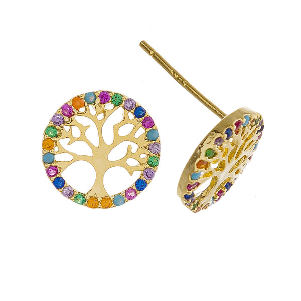 Dainty Tree of Life stud earrings with multicolor rhinestone details.  - Approximately 1cm in diameter
