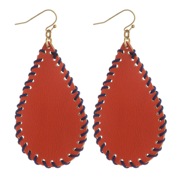 """""""Game Day"""" faux leather teardrop earrings featuring threaded details. Approximately 2.5"""" in length."""