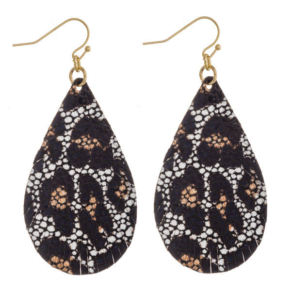 """Faux leather feather inspired teardrop earrings with leopard print details. Approximately 2.5"""" in length."""
