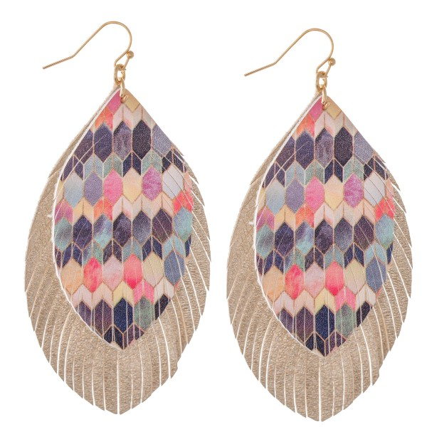 "Double Layered Multicolor Geometric Print Feather Drop Earrings. Approximately 3.5"" in length."