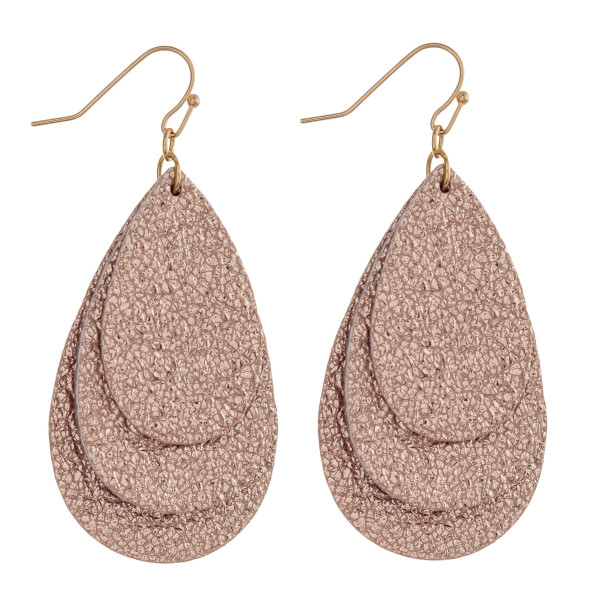 """Trio layered metallic faux leather teardrop earrings. Approximately 2.5"""" in length."""