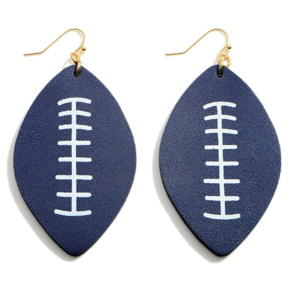 """Faux Leather Football Drop Earrings.   - Approximately 2.75"""" in Length"""