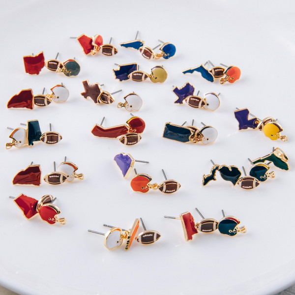 Trio stud earring set featuring football helmet, football and California state details. Approximately 1cm each in size.