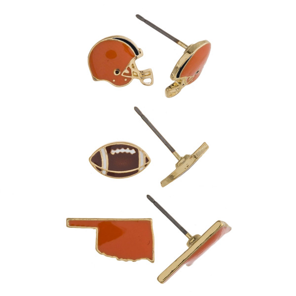 Trio stud earring set featuring football helmet, football and Oklahoma state details. Approximately 1cm each in size.