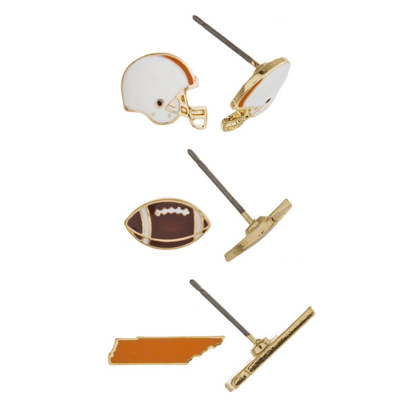 Trio stud earring set featuring football helmet, football and Tennessee state details. Approximately 1cm each in size.