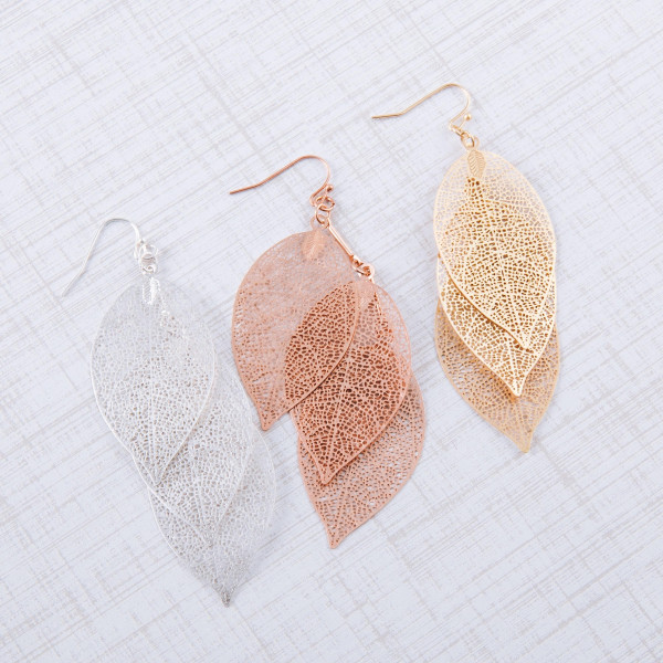 "Trio filigree leaf inspired drop earrings. Approximately 3.5"" in length."