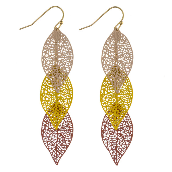"Long trio filigree leaf inspired earrings. Approximately 2.5"" in length."