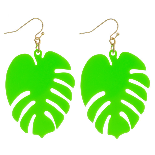 "Resin inspired leaf drop earrings. Approximately 2"" in length."