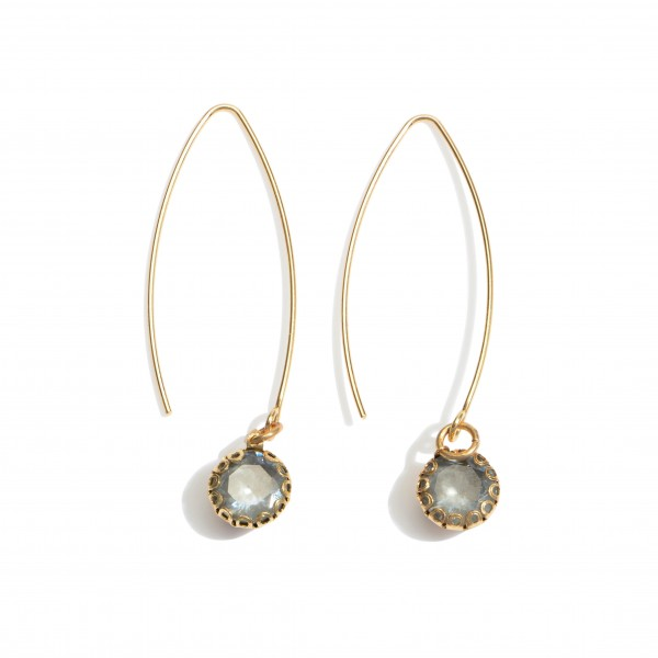 "Threaded drop earrings with rhinestone accents. Approximately 2"" in length."