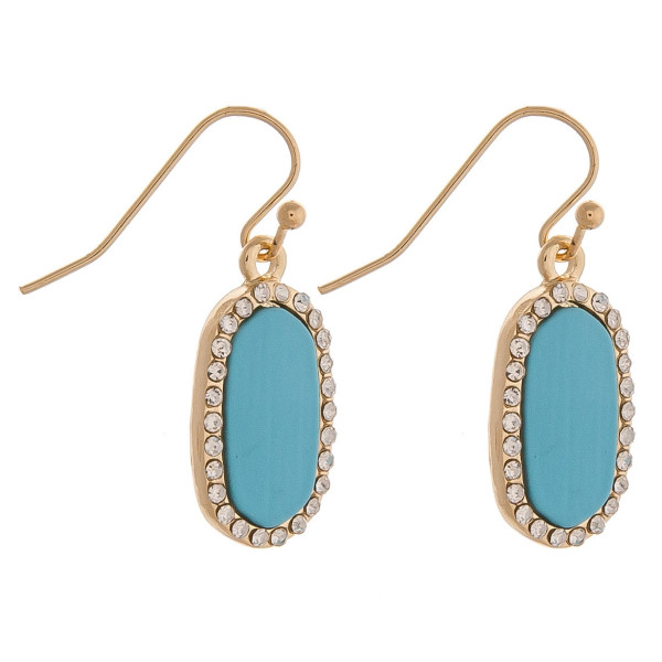 """Dainty metal drop earrings featuring a resin inspired center accent with cubic zirconia details. Approximately .75"""" in length."""