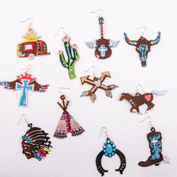 "Metal western horse earrings. Approximately 1.5"" in length."