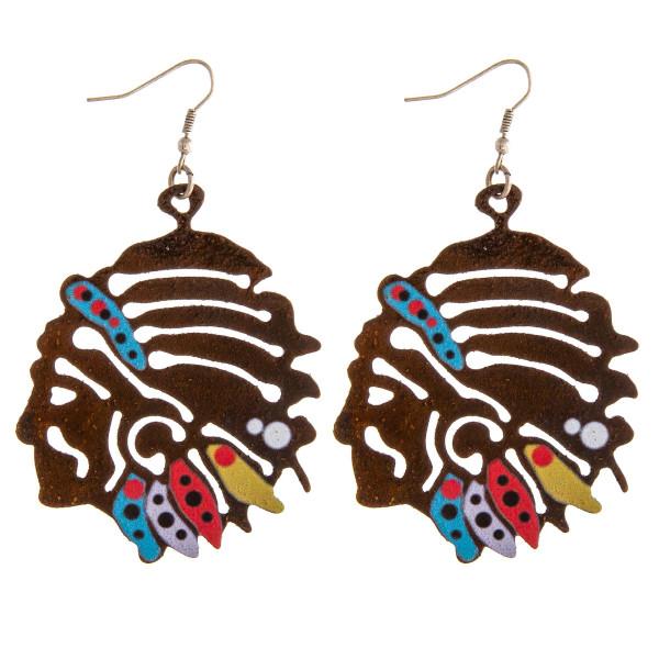 "Metal Indian head earrings. Approximately 2.5"" in length."