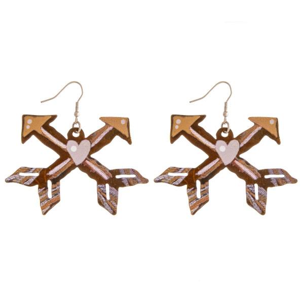 """Metal western arrow earrings. Approximately 2"""" in length."""