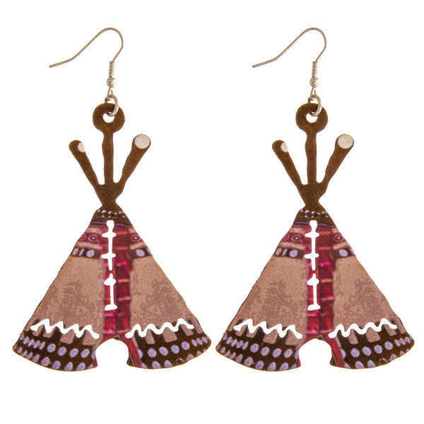 """Metal western tipi earrings. Approximately 3"""" in length."""