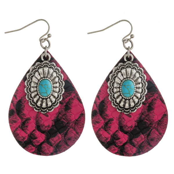 """Faux leather snakeskin teardrop earrings featuring wester turquoise details. Approximately 2.5"""" in length."""