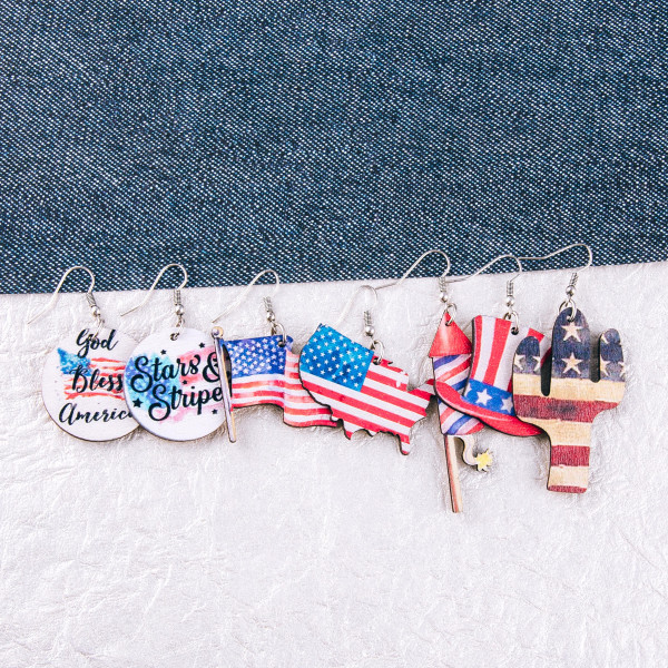 "Wood inspired Americana firework earrings. Approximately 2.5"" in length."