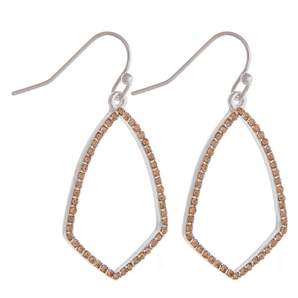"""Dainty metal drop earrings featuring cubic zirconia details. Approximately 1.5"""" in length."""