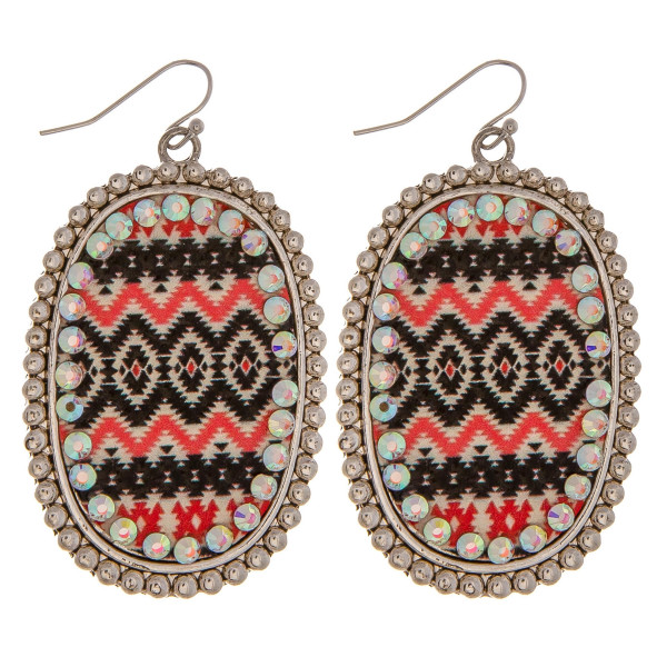 """Metal drop earrings featuring a faux leather western print center detail with rhinestone accents. Approximately 2.5"""" in length."""