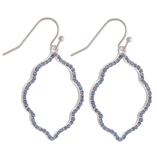 """Dainty lotus inspired drop earrings featuring cubic zirconia details. Approximately 1.5"""" in length."""