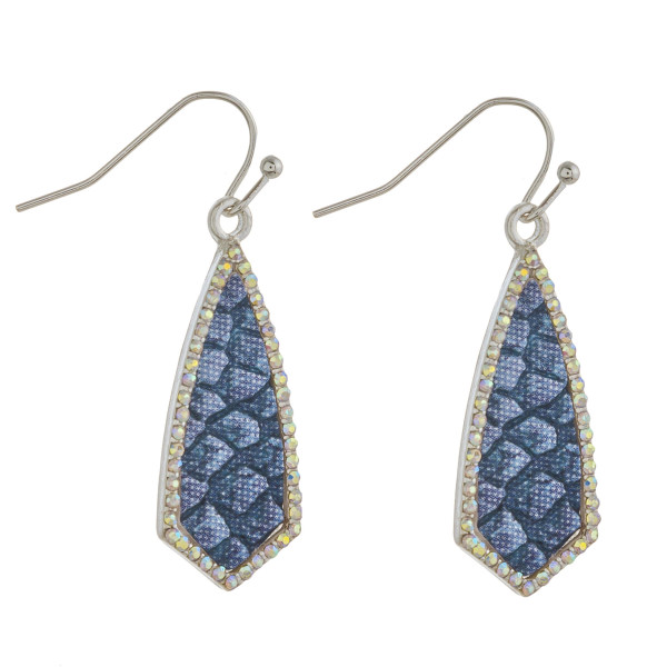 """Metal drop earrings with faux leather snakeskin and cubic zirconia details. Approximately 1.5"""" in length."""