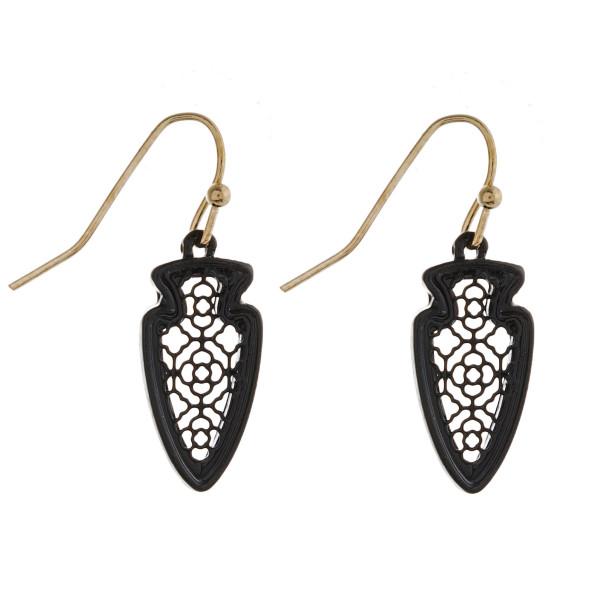 "Black filigree inspired arrowhead earrings. Approximately 1"" in length."