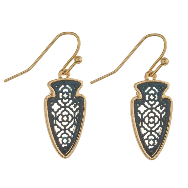 """Two tone gold and patina filigree inspired arrowhead earrings. Approximately 1"""" in length."""