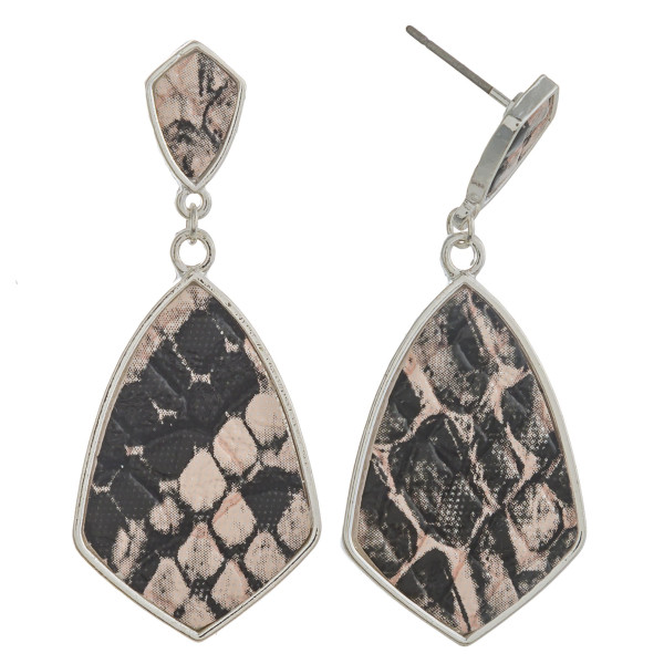 """Metal drop earrings with faux leather snakeskin details. Approximately 1.5"""" in length."""