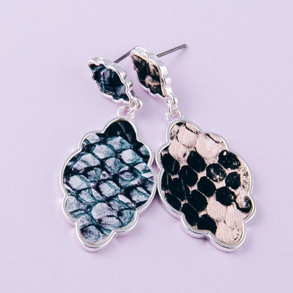 """Metal lotus inspired drop earrings with faux leather snakeskin details. Approximately 1.5"""" in length."""